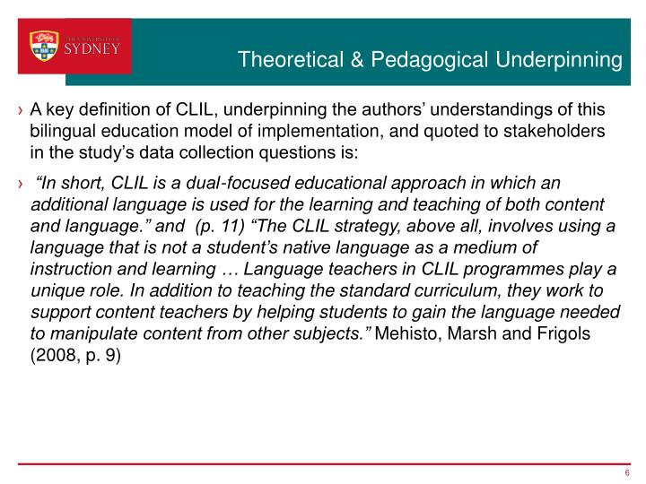 Theoretical & Pedagogical Underpinning