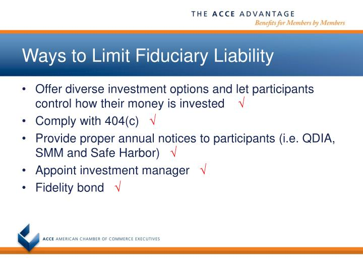 Ways to Limit Fiduciary Liability