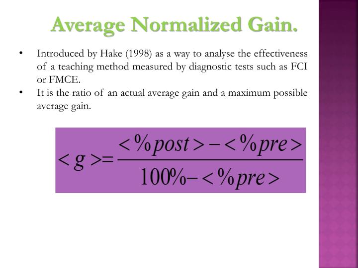 Average Normalized Gain.