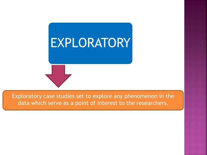 Exploratory case studies set to explore any phenomenon in the data which serve as a point of interest to the researchers.