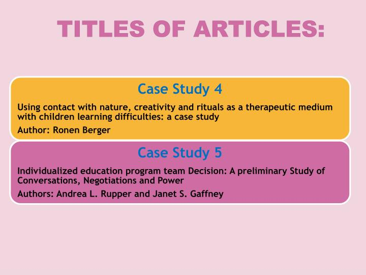 Titles of articles: