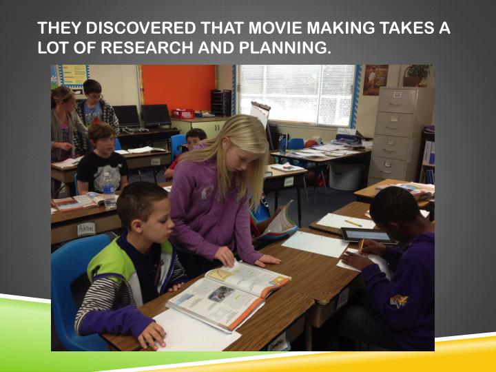 They discovered that movie making takes a lot of research and planning