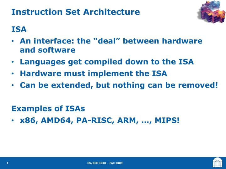 Instruction Set Architecture