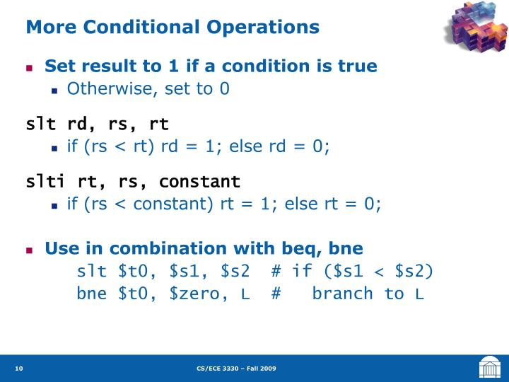 More Conditional Operations