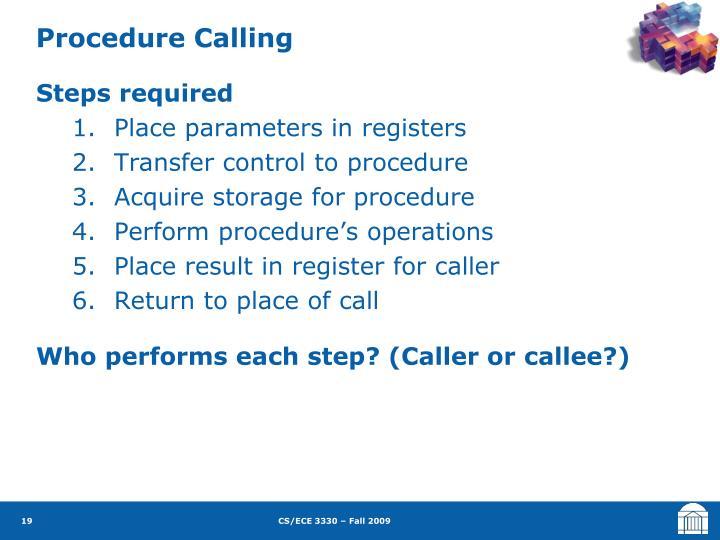 Procedure Calling