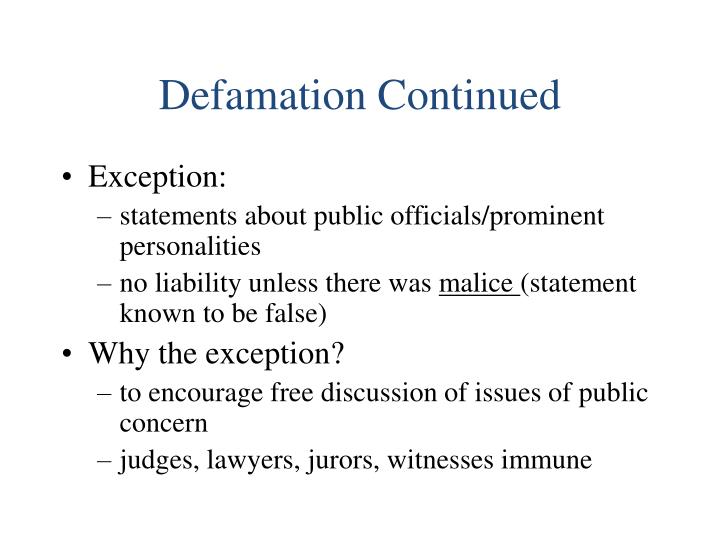 Defamation Continued