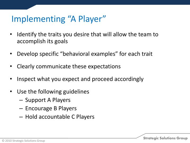 "Implementing ""A Player"""