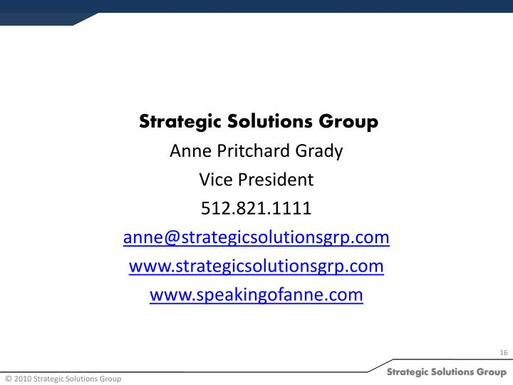 Strategic Solutions Group