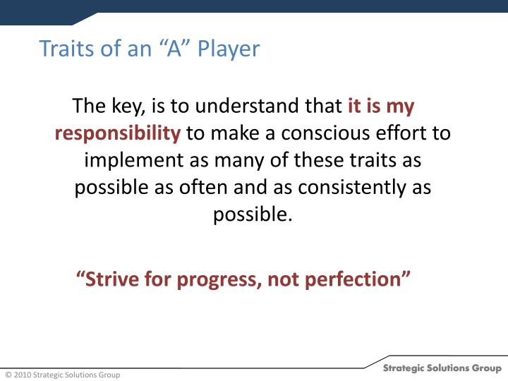 "Traits of an ""A"" Player"