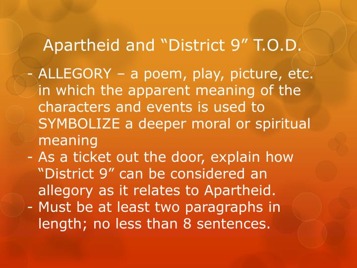 """Apartheid and """"District 9"""" T.O.D."""