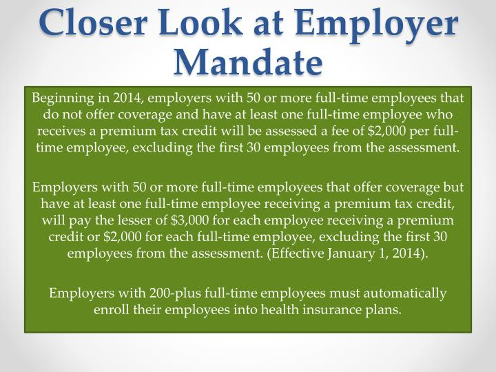 Closer Look at Employer Mandate