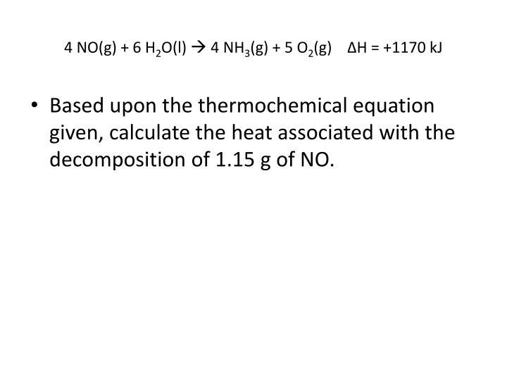 4 NO(g) + 6 H