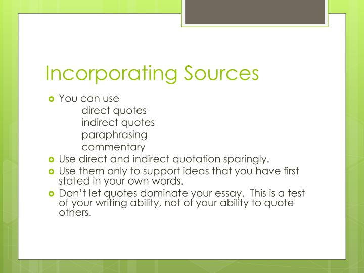 Incorporating Sources