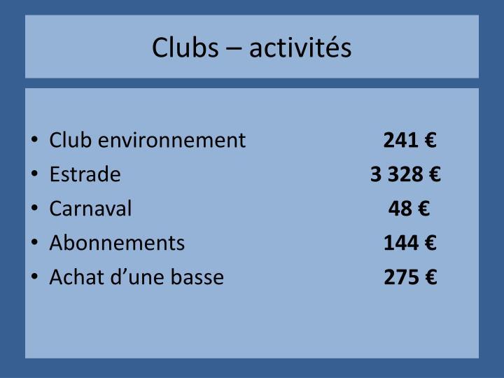 Clubs – activités