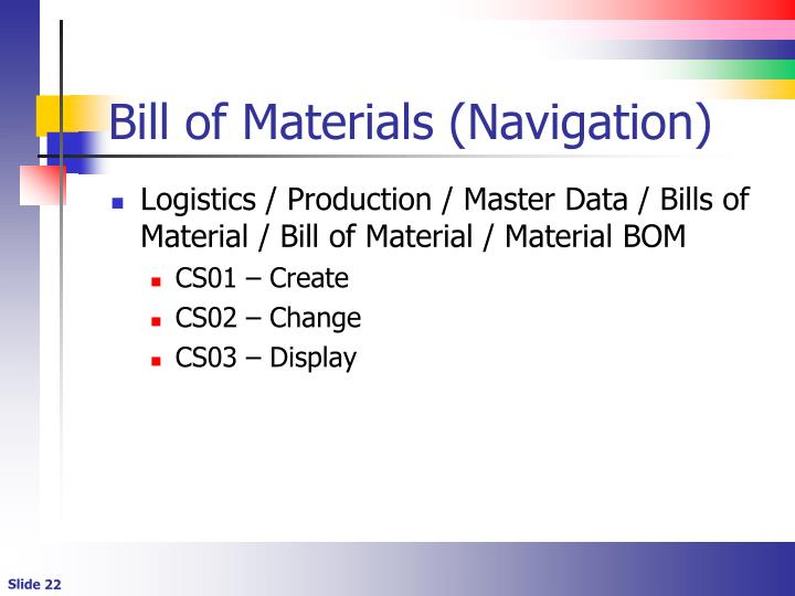 Bill of Materials (Navigation)