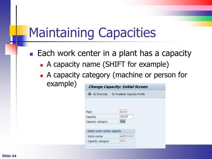 Maintaining Capacities