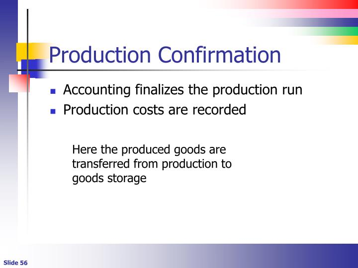 Production Confirmation