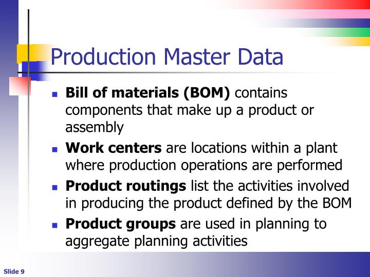 Production Master Data