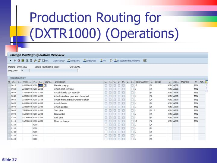 Production Routing for (DXTR1000) (Operations)
