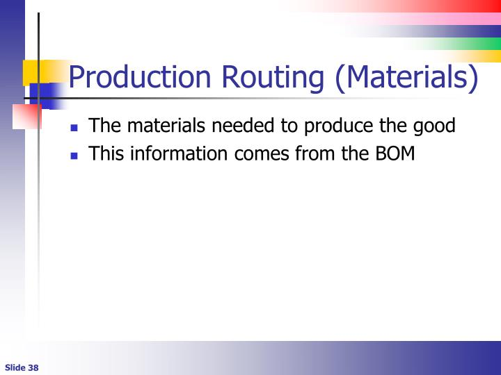 Production Routing (Materials)