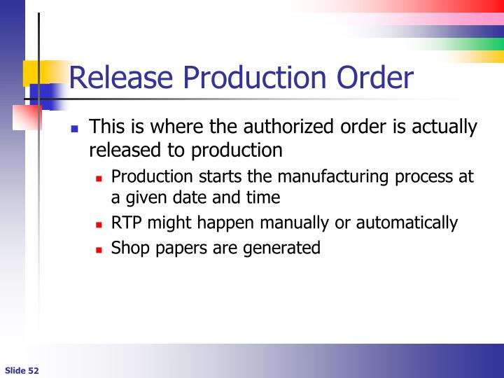 Release Production Order