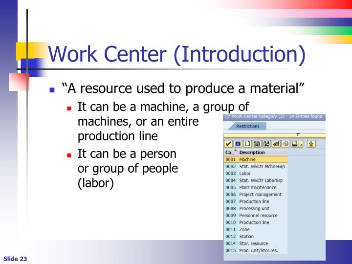 Work Center (Introduction)