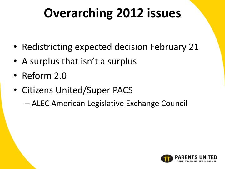 Overarching 2012 issues