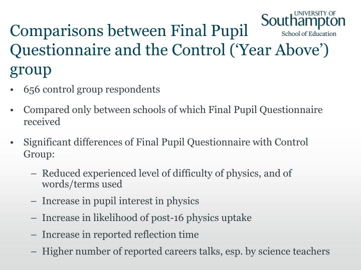 Comparisons between Final Pupil