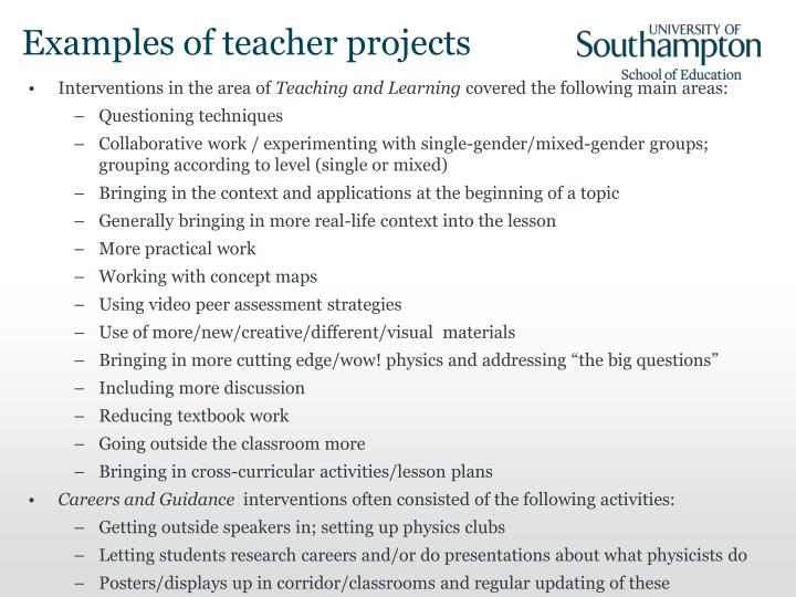 Examples of teacher projects