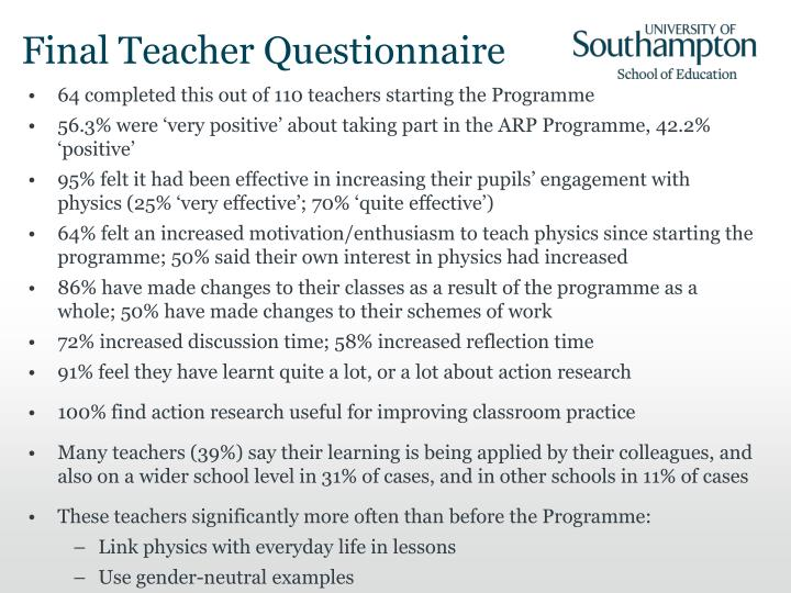 Final Teacher Questionnaire