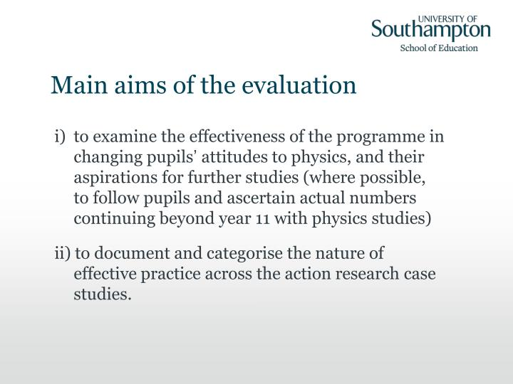 Main aims of the evaluation