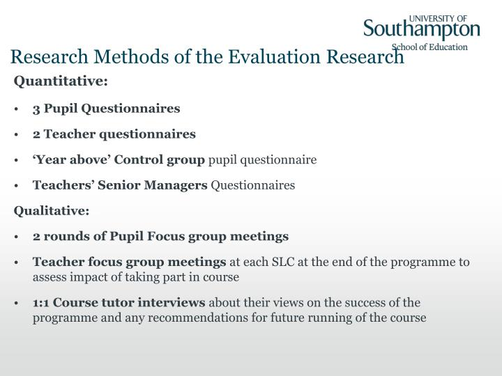 Research Methods of the Evaluation Research