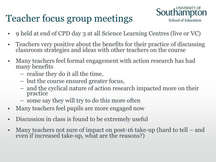 Teacher focus group meetings