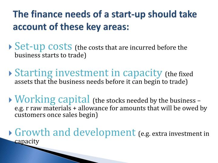 The finance needs of a start-up should take account of these key areas: