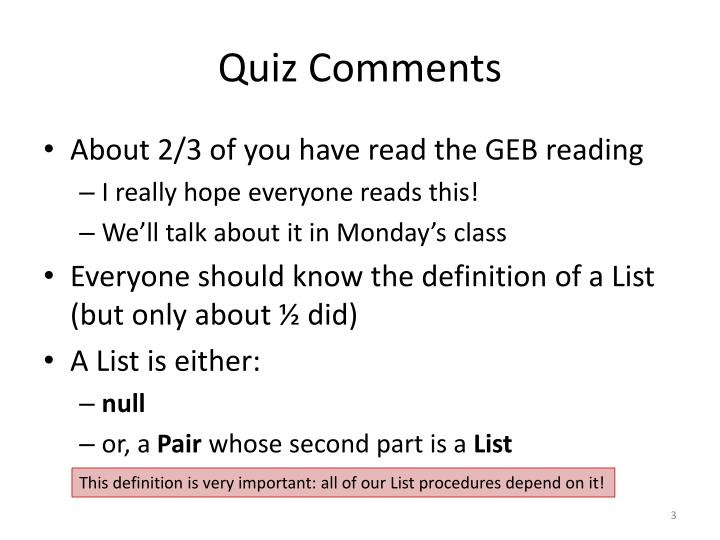Quiz comments
