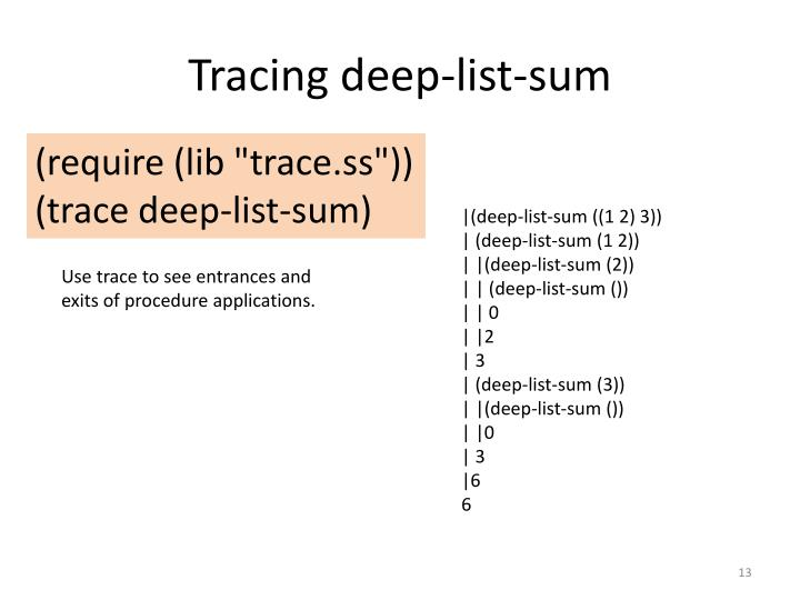 Tracing deep-list-sum