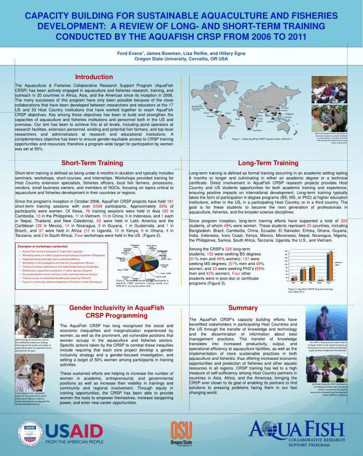 CAPACITY BUILDING FOR SUSTAINABLE AQUACULTURE AND FISHERIES DEVELOPMENT
