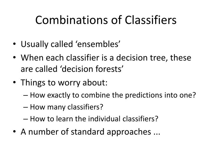 Combinations of Classifiers