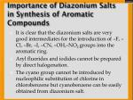 importance of diazonium salts in synthesis of aromatic compounds