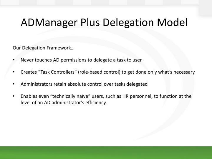 ADManager Plus Delegation Model