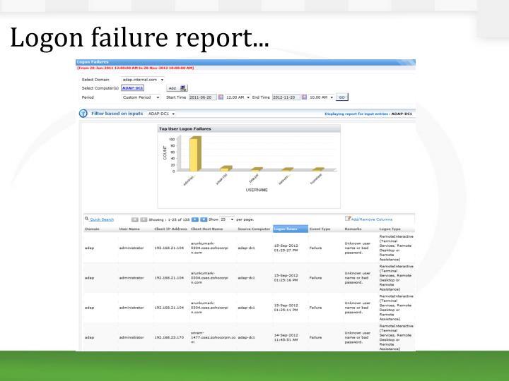 Logon failure report...