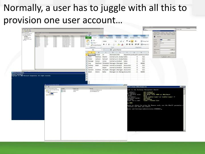 Normally, a user has to juggle with all this to provision one user account…