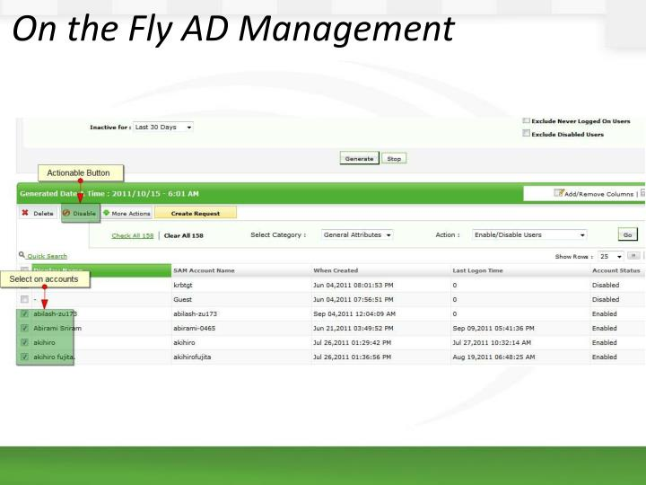 On the Fly AD Management