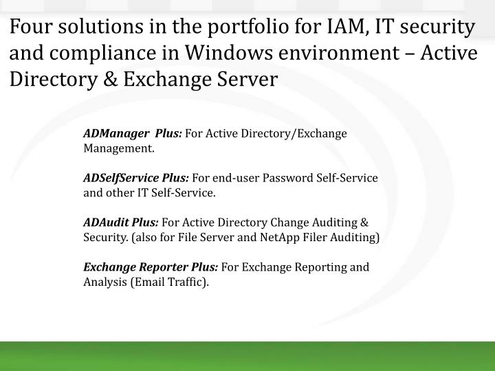 Four solutions in the portfolio for IAM, IT security and compliance in Windows environment – Active Directory & Exchange Server