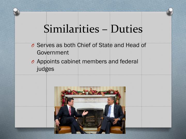 Similarities – Duties