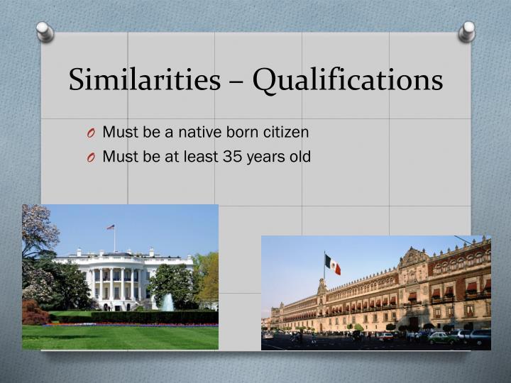 Similarities – Qualifications