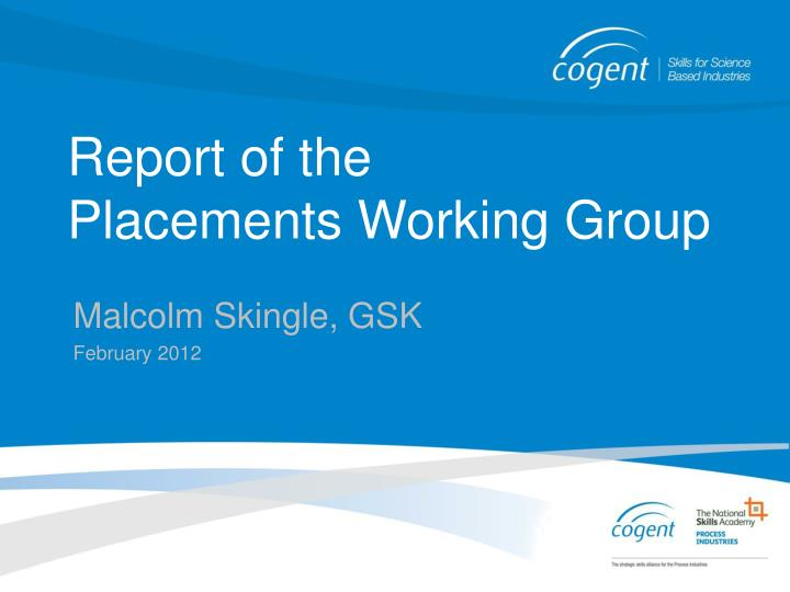 Report of the placements working group