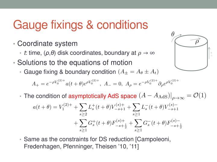 Gauge fixings & conditions
