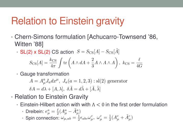 Relation to Einstein gravity