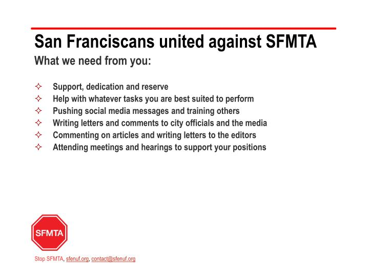 San Franciscans united against SFMTA